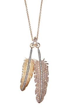 Double Gold And Diamond Feather Necklace by Nikos Koulis for Preorder on Moda Operandi