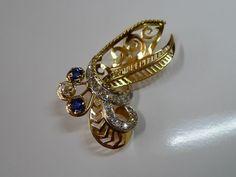 Online veilinghuis Catawiki: 18 K geel en witgouden Broche - Hanger bezet met Diamant en Saffier ,totaal circa 1,94 carat