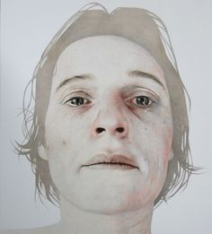 Annemarie Busschers. 'Beyond grief II ' Self Portrait XII''  Pencil and acrylic on Cotton
