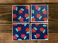 Coasters  Navy & White Polka Dots w/Red Flowers  Handmade