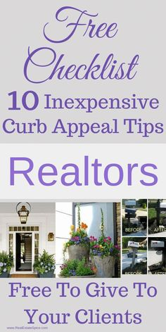 Realtors: Free Brochure For Your Sellers Curb Appeal Tips For The Best ROI 10 Curb Appeal Tips To Attract More Buyers and Offers. These 10 Inexpensive Tips Will Improve Your Home's Exterior AND. Real Estate Software, Real Estate Career, Real Estate Leads, Selling Real Estate, Real Estate Tips, Lead Generation, Real Estate Quotes, Free Brochure, Eye Candy