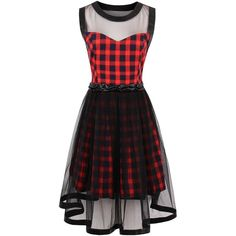 Tartan Print Sheer Yarn Insert Flared Dress (33 CAD) ❤ liked on Polyvore featuring dresses, rosegal, see through dress, tartan dress, transparent dress, flared dresses and flare dresses