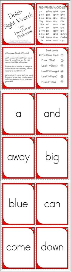 Check out this awesome set of Dolch Sight Words flashcards, for the pre-primer level!