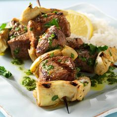 Check out this delicious recipe for Greek Lamb and Artichoke Skewers with Parsley Sauce from Weber—the world& number one authority in grilling. Lamb Recipes, Greek Recipes, Sauce Recipes, Meat Recipes, Primal Recipes, Yummy Recipes, Barbecued Lamb, Bbq Lamb, Lamb Kebabs