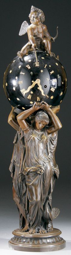 769: FRENCH THREE GRACES FIGURAL BRONZE CLOCK : Lot 769