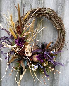 Fall Wreaths Autumn Wreath Door Decor Woodland by NewEnglandWreath -exquisite Thanksgiving Wreaths, Autumn Wreaths, Holiday Wreaths, Thanksgiving Decorations, Halloween Decorations, Wreath Crafts, Diy Wreath, Door Wreaths, Grapevine Wreath