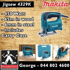 Become the Makita Specialist, with these wonderful deals, such as Makita Jigsaw 4329K 450 Watt only R1025 each! Only at Pennypinchers George. #makita #specials #gardenroute