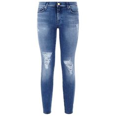 7 For All Mankind Skinny Cropped Distressed Jeans ($340) ❤ liked on Polyvore featuring jeans, pants, bottoms, pants and shorts, destroyed jeans, blue jeans, destructed skinny jeans, distressed jeans and ripped jeans