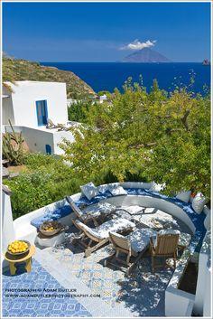 Drinks Terrace, Sette Mulini House, Panarea, Aeolian Islands - by adam butler