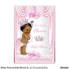 Ethnic Princess Baby Shower Girl Pink Silk 5x7 Paper Invitation Card