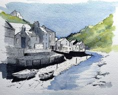 Line and wash of the beck at Staithes