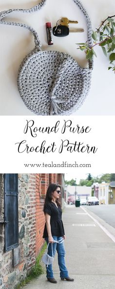 round purse crochet pattern, easy beginner crochet project, weekend project, crochet gift ideas, crochet bag