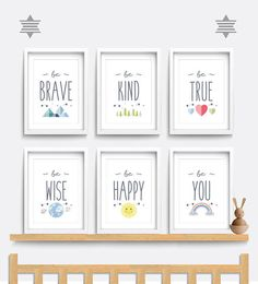 Nursery wall art, Set of 6 prints, Be brave be kind be you, Kid bedroom art, Nursery decor, Weather and space theme, Rainbow art, Quote art #nursery #kidsroom #wallart #print #ad