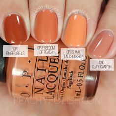 OPI peach nail polish side by side swatches