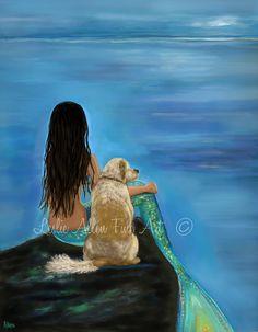 Mermaid Art Print Mermaid Painting Golden by LeslieAllenFineArt