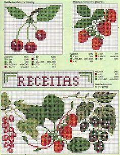 Cherries and berries Gallery. Cross Stitch Fruit, Cross Stitch Kitchen, Cross Stitch Flowers, Embroidery Art, Cross Stitch Embroidery, Embroidery Patterns, Counted Cross Stitch Patterns, Cross Stitch Designs, World Crafts