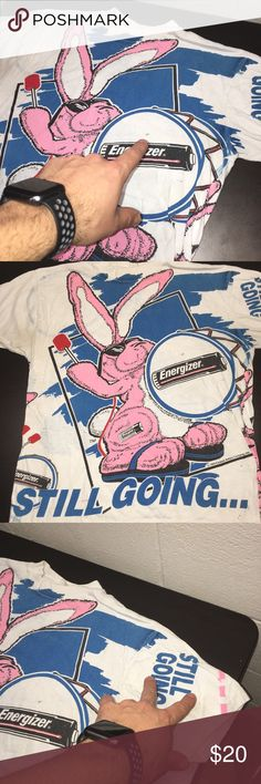Vintage Energizer Bunny Keeps Going 1993 M/L Shirt Used shirt by Horizon. Shirt is modern M/L. Check measurements. Some blemishes. See photos. Horizon Shirts Tees - Short Sleeve