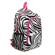 Zebra Backpack Pink Fuchsia Full Size Embroidery Rhinestone Option