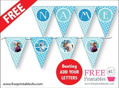 FREE Frozen party bunting freeprintables4u See my website for more Frozen Party Printables www.freeprintables4u.com