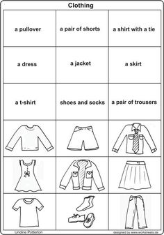 Clothes Free Printable Kindergarten Worksheets English Grammer