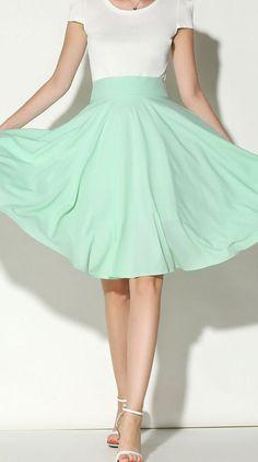 Light Green High Waist Midi Skater Skirt