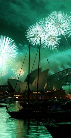 Sydney, Australia - absolutely Beautiful! Fireworks in the night sky over the Opera House and Harbour Bridge