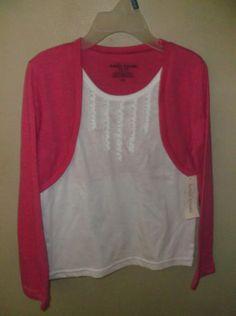 Bobbie-Brooks-NWT-Small-6-6X-Girls-Tee-Shirt-Top-Layered-Look-Pink-White