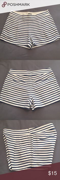 J Crew Factory Navy & White Stripe Shorts J Crew nautical inspired shorts. Slightly pleated front for a comfortable fit and cute detail. 65% Cotton, 35% Linen. Never worn, tag attached. J. Crew Factory Shorts Bermudas