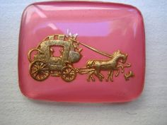 Rare Gold and pink romantic coach vintage intaglio reverse painted cabochon cab German