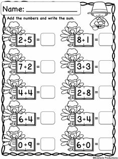 Thanksgiving Addition - Adding Within 10 - No Prep! 2nd Grade Math Worksheets, Fun Worksheets, 1st Grade Math, Addition And Subtraction Practice, Math Addition, Kids Learning Activities, Teaching Kids, Homeschool Kindergarten, Learning Numbers