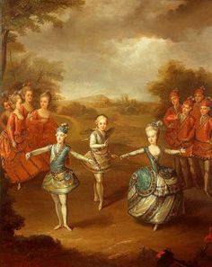 "An 1865 painting of Marie Antoinette as a child (age 10) when she performed a ballet with her brothers at wedding of their eldest brother, Emperor Joseph II to Marie of Bavaria.  The picture shows Marie dancing at Schonbrunn to the libretto (""Il trionfo d' amore"") written by Pietro Metastasio for the opera that Florian Leopold Gassmann composed for the wedding celebrations.  This painting is attributed to G.Weikert (1745-1799) and is in Hofburg, Vienna, but a copy is kept at Versailles."