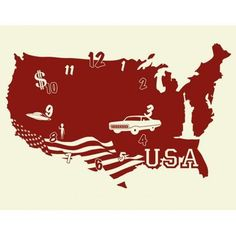 Style and Apply USA Wall Clock Wall Decal Color: Beige