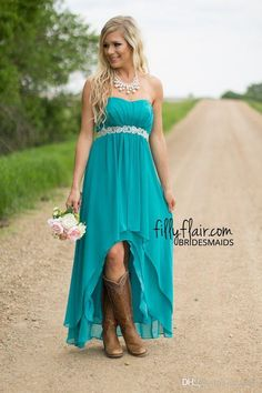 Real Image Hot Country Western High Low Turquoise Bridesmaid Dresses with Boots Evening Party Gown Aqua Blue Chiffon Prom Dress Crystal Sash