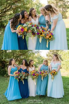 Your bridal party will thank you for choosing Kennedy Blue's chiffon bridesmaid dresses which are both comfortable and stylish in the colors Sapphire, Slate Blue and Sky. Available in 100+ styles, 50+ colors, sizes 00-32, and easy to mix & match with other styles. // blue bridesmaid dress // unique chiffon bridesmaid dress // chiffon blue dress // garden wedding // blue wedding // mix and match bridal party // mismatched bridesmaid dresses