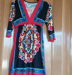 Bailey Blue medium tunic beautiful vivid colors Excellent preloved condition size medium tunic by Bailey Blue - gorgeous black, red, blue, gold colors - very bright and vivid. Bailey Blue Tops Tunics