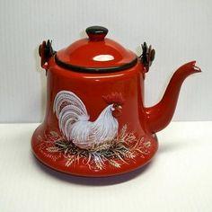 Vtg Red Enamel Graniteware Coffee Tea Pot HP Rooster Handpainted Metal Japan | eBay