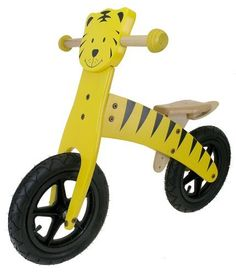 M-Wave Child's Wooden Running Bike (Tiger) by M-Wave. $67.15. Steering angle limitation. CPSC approved. Protected grips. Saddle height adjustment. The Ventura Wooden Tiger Running Bike offers a fun, interesting, and different way to learn how to ride a bike without the need for training wheels. Designed for children, this bicycle doesnt feature any pedals or training wheels. Kids can sit on the adjustable seat, generate momentum with their legs, pick their feet...