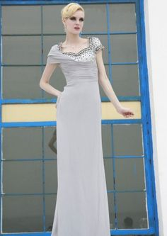 Column Bateau Neck Floor-length Short Sleeve Chiffon Prom Dresses