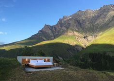Null Stern's open-air hotel  Graubünden, Switzerland Photo Atelier für Sonderaufgaben (Via @dezeen ) #zerostars #nullstern #noroof #nowalls #nobathroom #openair #nullsternhotel #swissalps #hotelbed #outdoorliving #concept #sleepoutside #bedwithaview