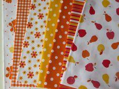 Cotton Fabric Bundle Orange polka dolt Tissus Tessuti Telas Patchwork Craft supplies by FitaDeVies