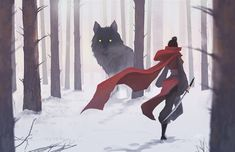 Elegant girl-warrior in a red cloak and a huge gray wolf.