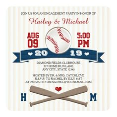 Sports Wedding Invitations MONOGRAMMED BASEBALL ENGAGEMENT PARTY CARD