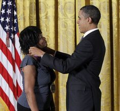 George Augustus Polgreen Bridgetower did not go down in history. But he was rescued from obscurity by Pulitzer Prize winning Poet Laureate Rita Dove in her acclaimed book, Sonata Mulattica.  Here, Rita Dove is awarded by President Barack Obama.