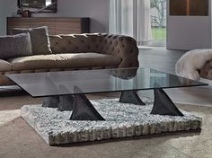 Low rectangular crystal coffee table | Cattelan Italia