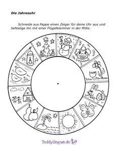 http://teddylingua.de/winter/: Jahresuhr, Jahr, Kalender, Jahreszeiten, basteln, Sachkunde, alle Klassen, malen, ausmalen, anmalen