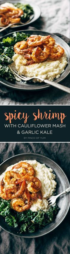 Spicy Shrimp with Cauliflower Mash and Garlic Kale   7 Dinners To Make This Week