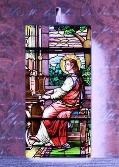 Saint Cecelia Altered Art Bakelite Domino Pendant by RedWhiskey, $14.95 Patron Saint Of Music, St Cecelia, Patron Saints, Altered Art, Catholic, Steampunk, Pendant, Gallery, Unique Jewelry