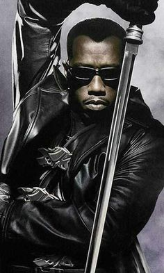 "Blade Starring Wesley Snipes, Stephen Dorff, Kris Kristofferson and N'Bushe Wright ""A half-vampire, half-mortal man becomes a protector of the mortal race, while slaying evil vampires. Marvel Dc Comics, Marvel Heroes, Marvel Live, Martial, Blade Movie, Blade Marvel, Day Walker, Wesley Snipes, Ron Perlman"