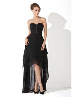 A-Line/Princess Sweetheart Asymmetrical Chiffon Evening Dress (017025915) - JJsHouse