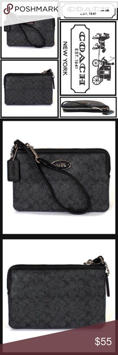 COACH Signature Logo Black Coated Canvas Wristlet COACH Signature Coated Black Canvas Wristlet #F52436wristlet in signature dark denim/black #f52436 Condition : New with Tags in box Color :Black Brand :Coach Product Detail: Coach wristlet in signature dark denim/black #f52436. Corner Zip style. Signature coated canvas with leather Denim trim. two credit card pockets, zip-top closure, fabric lining, Strap with clip to form a wrist strap or attach to the inside of a bag. 6 1/4 (l) x 4…
